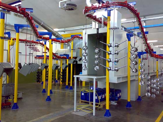 POWDER COATING / PAINTING LINE FOR HOUSEHOLD APPLIANCES AND FURNITURE MADE OF METAL
