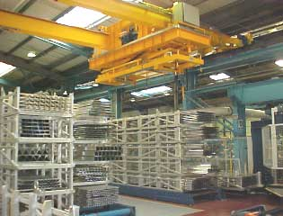 aluminium extrusion packing handling bridge crane
