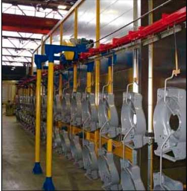 overhead conveyor powder coating painting process