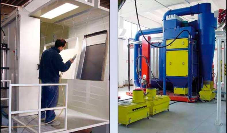 Powder coating booth spraying powder coat