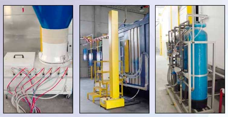 powder coating painting process plant line several equipments